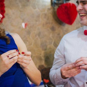 влюбленная пара, сине-красная свадьба